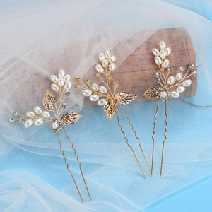 3pc lot Gold Wedding Hair Pins Pearl Crystal Flower Bridal Hairpins Bride Rhinestone Hair Clip Hairclips Leaf Hairwear For Women