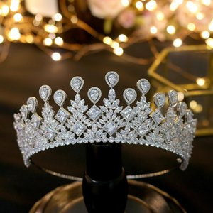 ASNORA big Wedding Bride's Crown Elegant Zincons Hair Silver Tiaras Bridal Jewelry Crown Accessories T200110