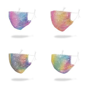 Cristales Inlaied Máscaras Gradientes Boca Cara reutilizable Mascarilla de respiración plegable Mascherine lavable Moda anti humo Earloop C2 4 5SY