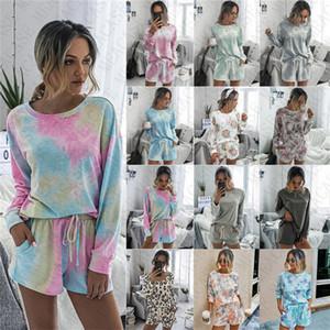 Calças curtas mulheres 2 roupas pedaço T-shirt pulôver Treino da tintura do laço de manga comprida com capuz Shorts Comfort Pajama Define D71407 Vestuário casual