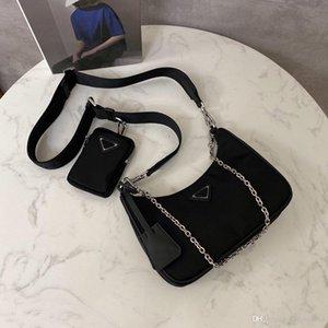 Nova Moda Designer Senhoras Bolsa Bolsa De Ombro Mini Strap Sacos Crossbody Imported Nylon Tarpaulin 2 em 1 Crossbody Bags 25cm