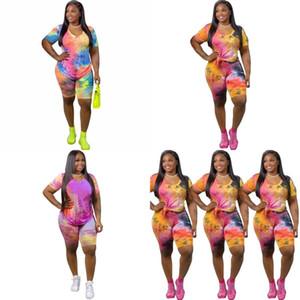Camiseta Calças Kit mangas curtas Shorts Suit Calças tingido laço do vestido da forma Blusa Sets Casual Mulheres Feminino Verão 33an C2