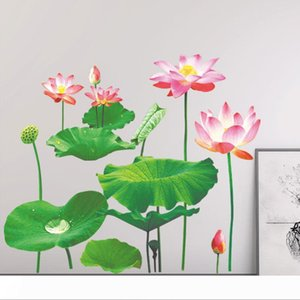 Hot Sales Removable Lotus Wall Sticker Creative Wall Decals DIY Flower Home Decor for Living Room Sofa Background Decoration