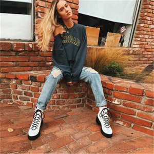 2020 NEW Autumn And Winter Pullover sweatshirt Women Vogue Personality Hole Round neck Loose Printing Bare shoulders Ladies Top
