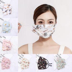 Femme en mousseline de soie crème solaire Masque Printemps Eté respirante Lady Masques bouche Masque Masques Lavable réutilisables Floral visage