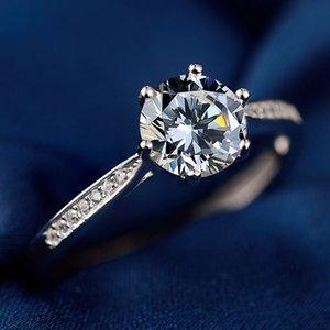Bague en argent sterling femmes coréenne style simple Zircon Bracelet artificielle Diamond Ring Fashion Girls Proposition Bague en gros