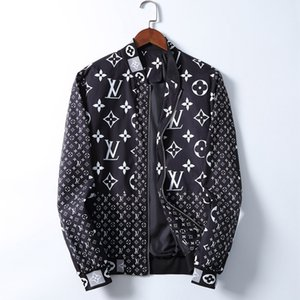 Hombre del diseñador chaquetas con capucha cazadora deportiva Nuevo otoño del resorte de la chaqueta de la ropa ocasional de la cremallera tela escocesa collar Impreso chaqueta delgada 78
