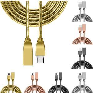 cable de carga micro de tipo de datos c USB del metal de aleación de zinc de acero inoxidable cable cargador rápido del resorte de sincronización para Samsung S6 S7 S8 HTC