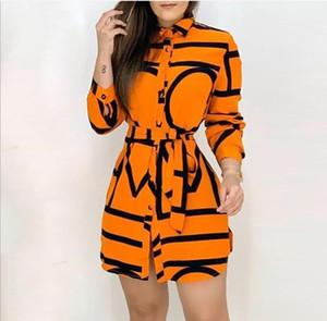 Женского оранжевого Lettter рубашка платье Женщина Пояс Нерегулярного отворот шея длинного рукав летних платья женщины высокая мода сексуальная одежда