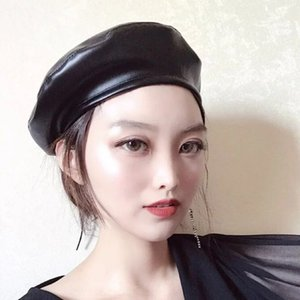 buNX8 Internet celebrity with fashionable versatile tone PU leather Painter's hat beret beret female fashionable British pumpkin painter hat