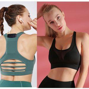 Back Pocket Gym Yoga Sports Bras Hohle Work out Fitness Tops Active Radsport Schiff Lauf BH Sportbekleidung Sport Camisoles Bra Top Drop