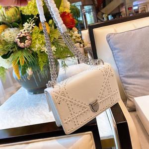 Rivet flip square bag 2021 new high quality genuine leather Women handbag Diamond lock chain shoulder messenger bag