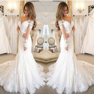 White mermaid Wedding Dresses Long Sleeves Lace Bride Wedding Gowns Elegant Train Wedding Gowns Custom Made