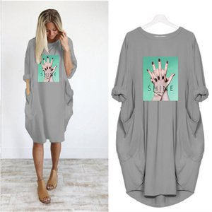 Fashion Women's DIY Dresses Summer and Autumn Trends New Printed Women's Long Sleeve Long T-Shirt Large Size Loose Casual Skirt Wholesale