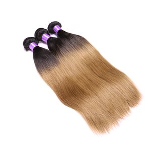 100% Unprocessed Cuticle Aligned 1B 27 Ombre Color Silk Straight Human Hair Weaves Wefts Brazilian Hair Bundles
