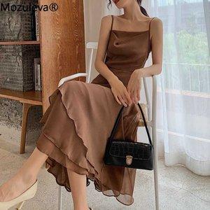 Mozuleva 2020 Zarif Slash yaka Spagetti Askı Kadın Elbise Yaz Basamaklı İnce Kolsuz Bayan Uzun Elbise Sundress Vestido