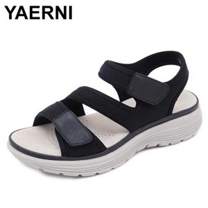 YAERNI mujeres sandalias de piel MD Soles Deporte Ocio cómodo yardas grandes de zapatos