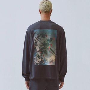 19FW FOG Fear of God Essentials floral da foto Impresso Long Sleeve moleton Crewneck T-shirt Camisola Rua Hoodies Tee