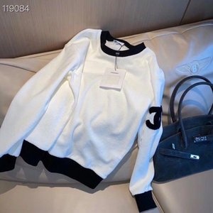2020 autumn and winter new women sweater round neck pure cotton small terry fabric sleeve arm embroidery wild couple sweaters