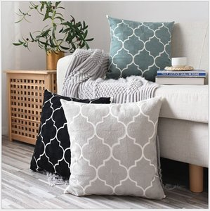 Home Decor Embroidered Cushion Cover Grey Black green Geometric Canvas Cotton Square Embroidery Pillow Cover 45x45cm Pillow Sham