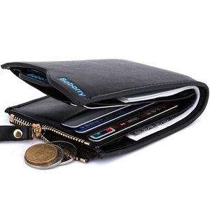 Hot Sale Baborry Fashion Design Mens Wallets Carteira Black Brown Color Quality Documents ID Credit Card Holder Zipper Pocket Coins Purse