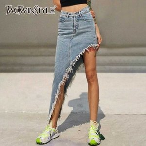TWOTWINSTYLE Casual Asymmetrical Women's Skirts High Waist Patchwork Tassel Irregular Skirt For Female Clothing 2020 Fashion New