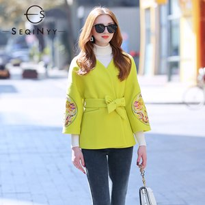 SEQINYY Short Jacket 2020 Autumn Spring New Fashion Design Vintage Embroidery Loose Coat