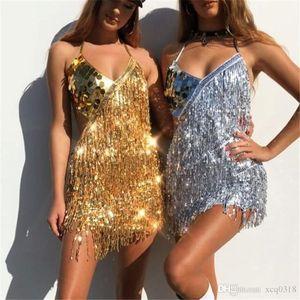 2019 women's show beads tassel dress Fringe Midi Dress Womens Sexy Deep V Neck Sleeveless Sheath Sequins Chirstmas Party Dress Robes