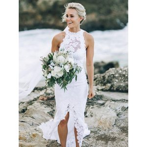 2020 beach wedding dresses Front Thighspit White Lace High Neck Open Back Summer Bohemian Wedding Dress Receotion Party Gowns Plus Size Boho