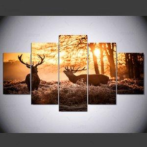 Natureza Elk Paisagem 5 Painéis Canvas Paintings Recados decorações para Home Office Obra giclée Artwork Recados Home Decor IM-93