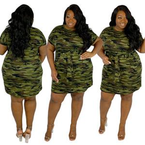 Plus Size XL-4XL Women Camouflage Print O-neck Short Sleeve Mini Dress Casual Sport Dresses Vestidos