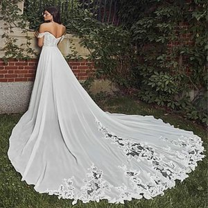 Vintage Bohemain Wedding Dresses With Lace Sexy Off The Shoulder High Slits Country Wedding Gowns 2020 A Line Long Vestidos De Novia Cheap