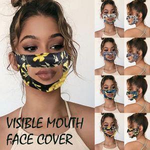 PET Dudak Anti-sis Şeffaf maskeler Pamuk Çiçek Baskılı Maske Sağır Dilsiz Maskeler Katı Renk Görünür Ağız Yüz Kapak CCA12319 50pcs Maske