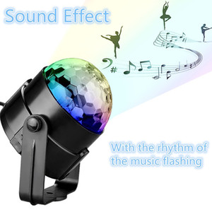 Sound Activated Rotating Disco Ball Party Lights Strobe Light 3W RGB LED Stage Lights For Christmas Home KTV Xmas Wedding Show with remote