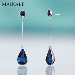 MAIKALE Classic Water Drop Blue Crystal Earrings Red Rhinestone Teardrop CZ Hanging Dangle Long Earrings for Women Jewelry Gifts