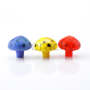 30mmOD Mushroom Glass Carb Cap Yellow Red Blue Glass Caps Heady Carb Caps For Quartz Banger Nails Glass Water Bongs Pipes Oil Rigs