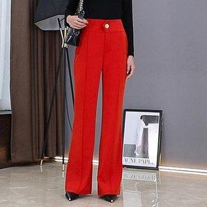 2020 S TO 5XL Осень Новый Красный Подвеска Wide Leg Pants Большой размер высокой талией повседневные брюки женский танец Straight-Leg Tall