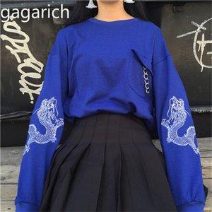 Gagarich 2020 Version Coréenne Vêtements Printemps Femmes Harajuku Style de personnalité Cercle dragon broderie lâche manches longues Sweats à capuche