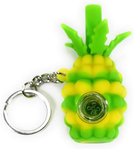 Wholesale silicone pineapple smoking pipe Hookahs hand pipes with glass bowl tobacco Oil Rigs Portable with keychain