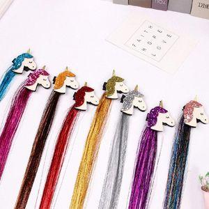 1Pc парик волос аксессуары для девочек 48см Длинные Косички с зажимом Unicorn волос для Glitter Unicorn Поддельные парик Pins Дети Headwear yRx3 #