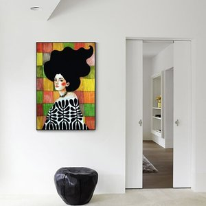 Style nordique coloré figure abstraite à l'huile Portrait Fille Affiches Mur toile Image pour Chambre Modern Home Décor