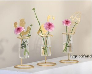 Gold color metal glass vase animal sculpture flower vase desktop decor animal decor high stand vase