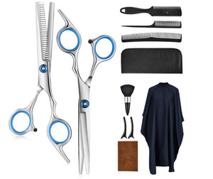 Household hair cutting set Hairdressing Tools 10 Piece Set Hairdressing Scissors Hairdressing Trim Leather Bag Set Hair Care Styling Tools