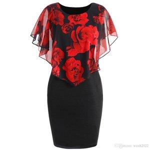 2018 new Europe and the United States new rose print shawl female Slim Pack hip dress