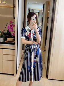 2020 Summer Vacation Shirt Dress Women Striped Floral Print Belt Single Breasted Dresses Ladies Mid-Calf Dress vestidos