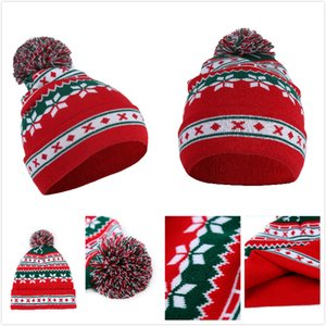 Girl Beanies Christmas poms Warm windproof Knit hats Winter Christmas Cute Flower Woolen Hat 15 P