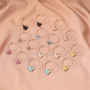 Cute Butterfly Dangle Earring for Women Girls Circle Gold Color Hoop Earrings Hoops Girl Jewelry Gift