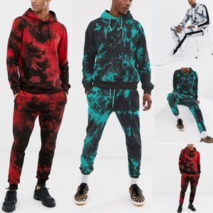 Mens Tie Dye Imprimir Define Moda Suit Sport Sweatshirt Top Pants Set 2 peças Set Treino Streetwear