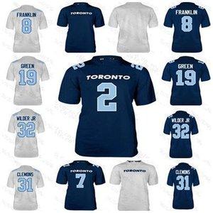 2019 Toronto Argonauts 8 James Franklin 19 S.J. Yeşil 32 James Wilder Jr 87 Derel Walker Clemoms 7 Theismann Jersey Custom Erkekler Kadınlar Gençlik