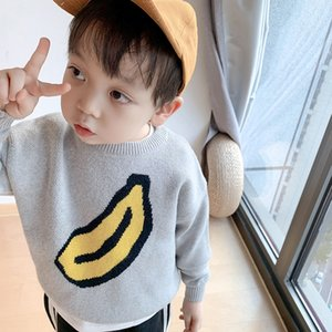 Dv9wL New children's Banana pullover sweater for autumn 2020 cute top for boys and girls and children banana pattern knitted pullover sweate